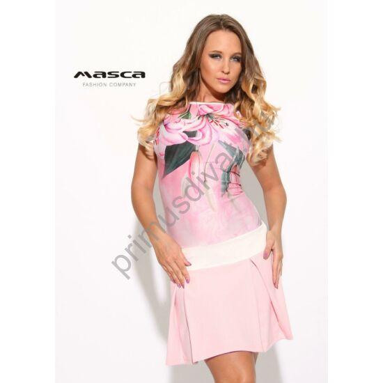 Masca Fashion csónaknyakú, rózsaszín virágmintás ujjatlan, loknis aljú miniruha