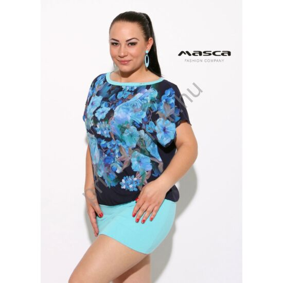 Masca Fashion virágmintás, T-ujjú lezser tunika, miniruha, világoskék szoknyarésszel