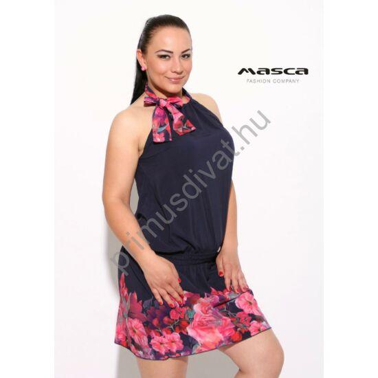 Masca Fashion megkötős nyakú, gumírozott derekú laza ujjatlan szövött anyagú sötétkék tunika, miniruha, alján színes virágmintával