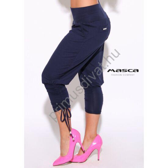 Masca Fashion zsebes sötétkék lezser nadrág, széles passzéval, szárán kötővel ráncolva
