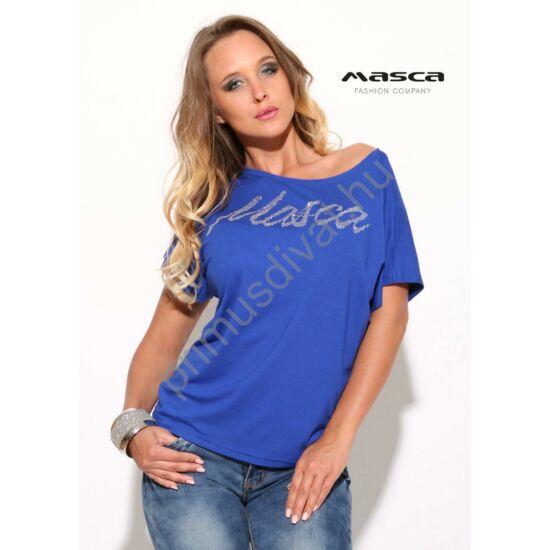 Masca Fashion vállra húzható nyakú lezser, királykék rövid ujjú felső, ezüst márkafelirattal