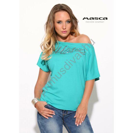 Masca Fashion vállra húzható nyakú lezser, türkizkék rövid ujjú felső, ezüst márkafelirattal