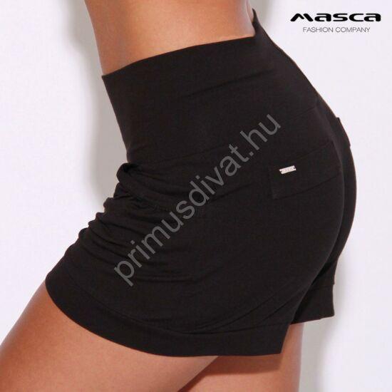 Masca Fashion magasított derekú zsebes fekete sort, rövidnadrág
