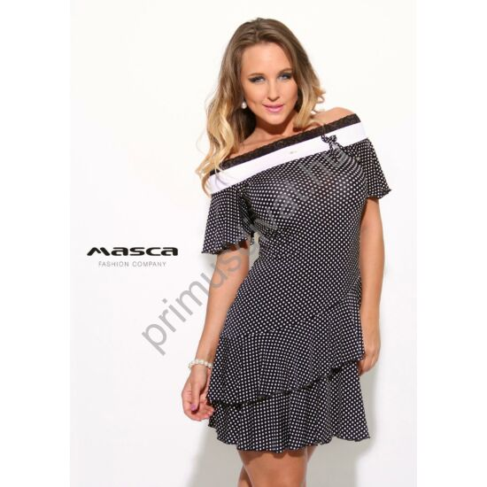 Masca Fashion csipkeszegélyes vállra húzható nyakú, loknis aljú fekete-fehér pöttyös rövid ujjú miniruha