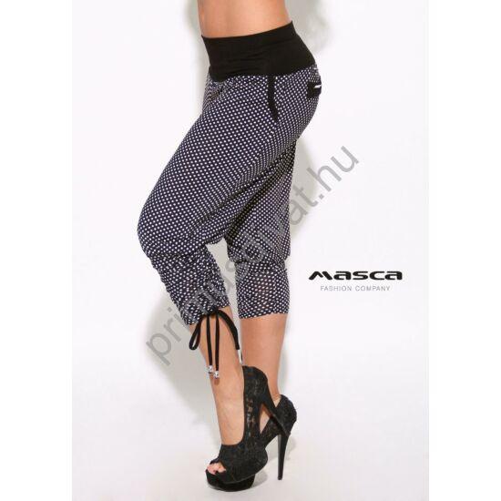 Masca Fashion zsebes fekete-fehér pöttyös lezser nadrág, széles passzéval, szárán kötővel ráncolva