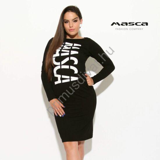 Masca Fashion csónaknyakú, hosszú ujjú fekete zsebes miniruha, elején nyomott fehér márkafelirattal