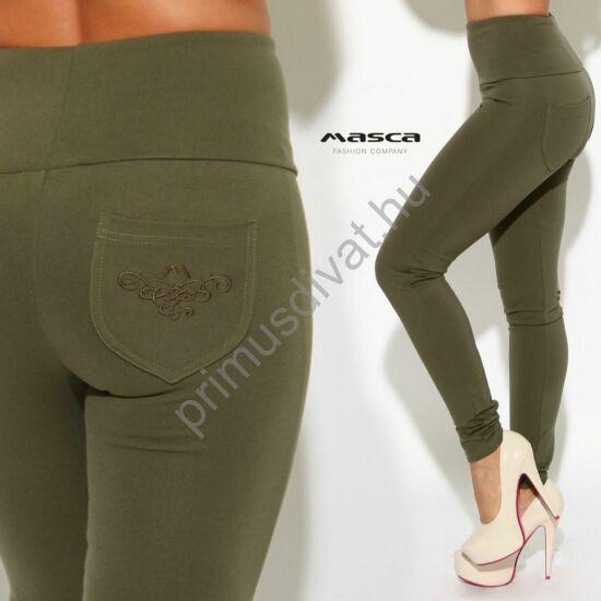Masca Fashion magasított derekú keki elasztikus leggings, cicanadrág, hímzett mintás márkaemblémás zsebbel
