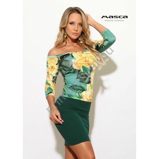 Masca Fashion vállra szabott sárga rózsamintás, olajzöld szoknyarészű szűk miniruha