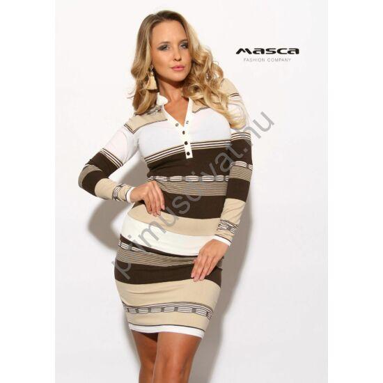 Masca Fashion állónyakú, patentos dekoltázsú, hosszú ujjú drapp-barna csíkos szűk miniruha
