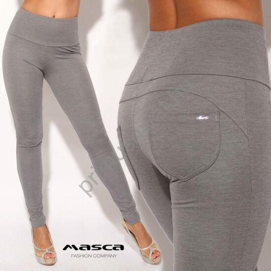 Masca Fashion magas derekú szürke-melange cicanadrág, hátul íves szabással, zsebekkel, fém márkajelzéssel