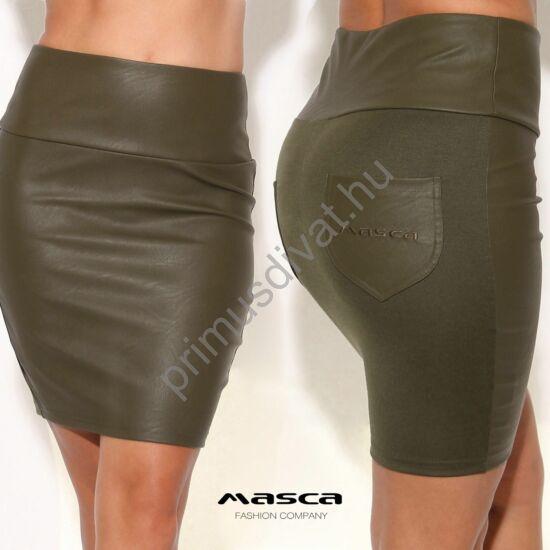 Masca Fashion magas derekú, műbőr elejű szűk rugalmas keki miniszoknya, hímzett zsebbel