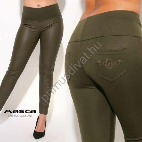 Masca Fashion magas derekú, műbőr elejű rugalmas keki leggings, cicanadrág, hímzett zsebbel