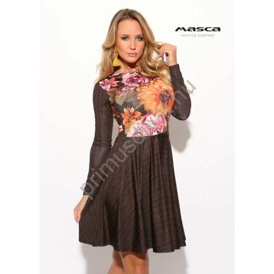 Masca Fashion őszi virágmintás felsőrészű, loknis aljú hosszú ujjú miniruha, könnyen kezelhető, selymes tapintású anyagból