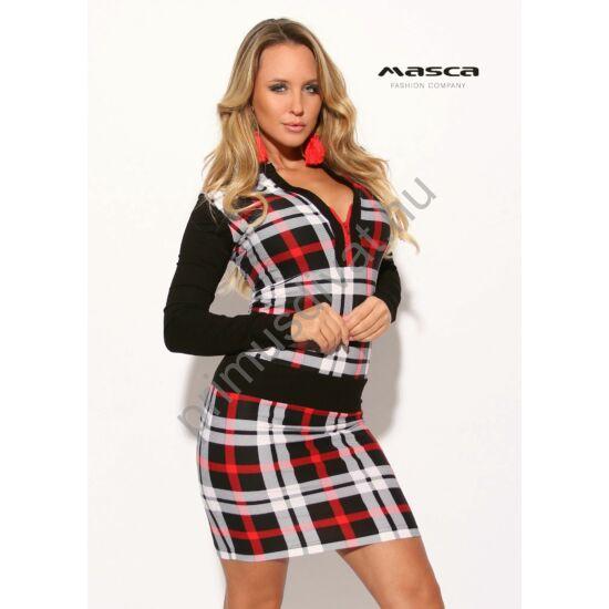Masca Fashion állónyakú, cipzáras dekoltázsú, piros-fekete burberry kockás hosszú ujjú szűk miniruha