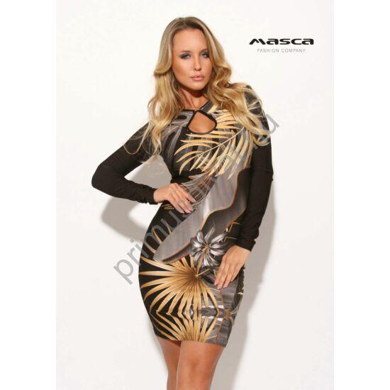 Masca Fashion csepp-kivágott dekoltázsú, hosszú ujjú őszi növénymintás szűk fekete miniruha