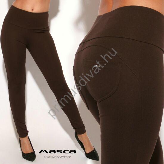Masca Fashion magas derekú sötétbarna cicanadrág, leggings, hátul íves szabással, zsebekkel, fém táblás márkajelzéssel