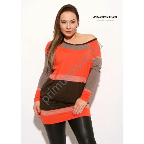 Masca Fashion vállra húzható csónaknyakú, barna-narancs csíkos ezüst lurex szálas hosszú ujjú lezser felső, tunika, csípőjén széles passzéval.