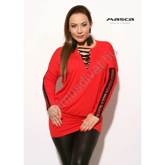Masca Fashion fekete fűzős dekoltázsú, denevérujjú lezser piros felső, tunika, csípőjén széles passzéval