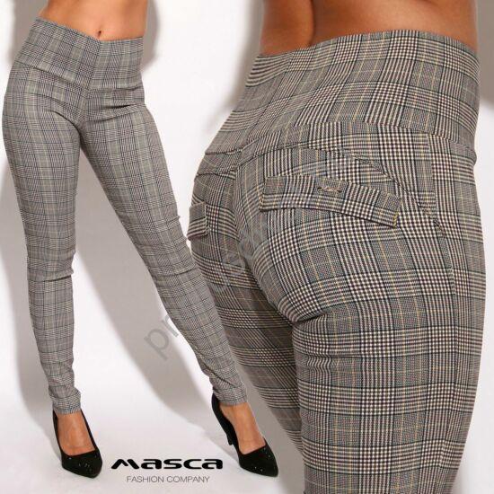Masca Fashion magas derekú okkersárga csíkos szürke szövött kockás nadrág, hátul íves szabással, zsebfedőkkel, fém táblás márkajelzéssel