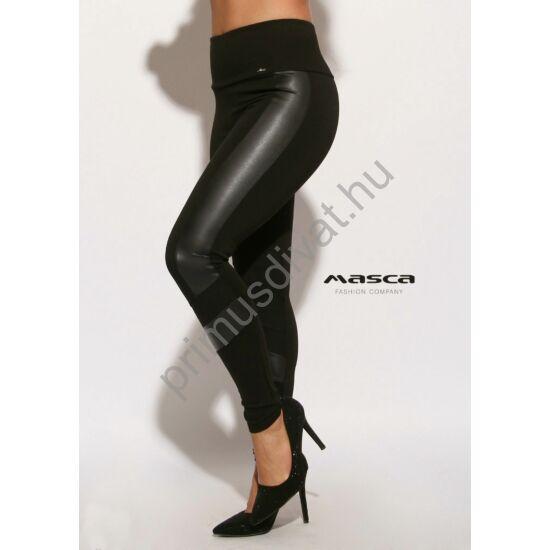 Masca Fashion magas derekú, műbőr betétes rugalmas fekete leggings, cicanadrág