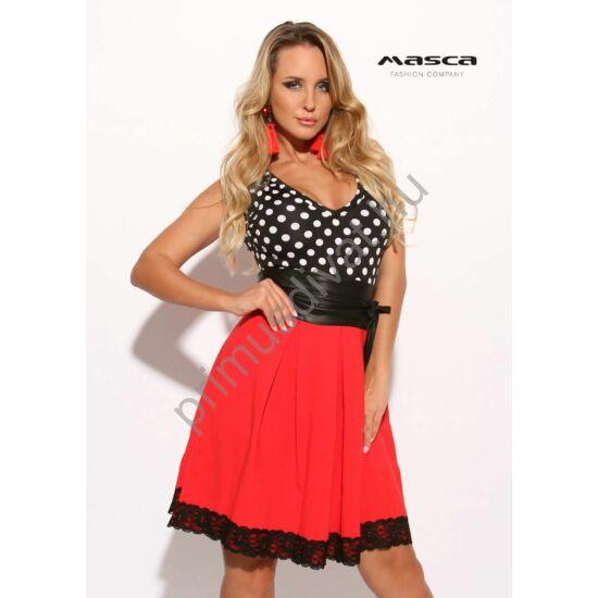 Masca Fashion csipkeszegélyes piros loknis szoknyarészű fekete-fehér pöttyös ujjatlan alkalmi ruha, megkötős műbőr övvel