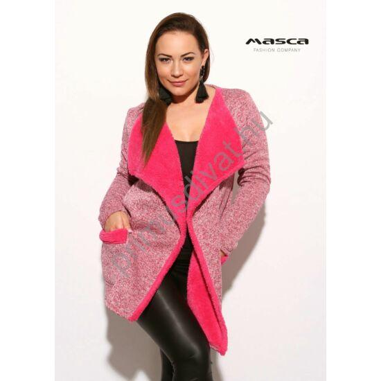 Masca Fashion kihajtós galléros, puha, vastag kötött hatású pink-melange lezser kardigán, műszőrme béleléssel