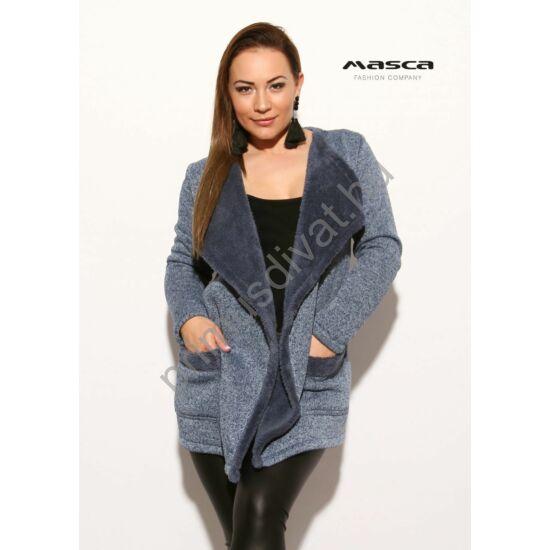 Masca Fashion kihajtós galléros, puha, vastag kötött hatású kék-melange lezser kardigán, acélkék műszőrme béleléssel