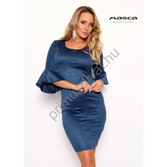 Masca Fashion fodros háromnegyedes ujjú, anyagában mintás, brokátos felületű középkék alkalmi miniruha