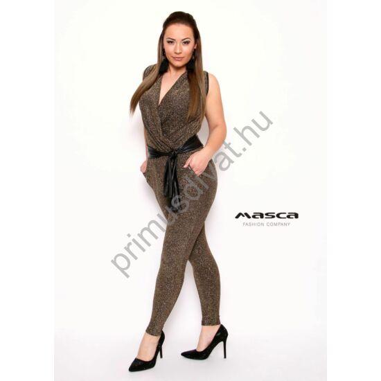 Masca Fashion ráncoltan átlapolt elejű ujjatlan, csillogó arany lurex szálas zsebes overall, megkötős műbőr övvel