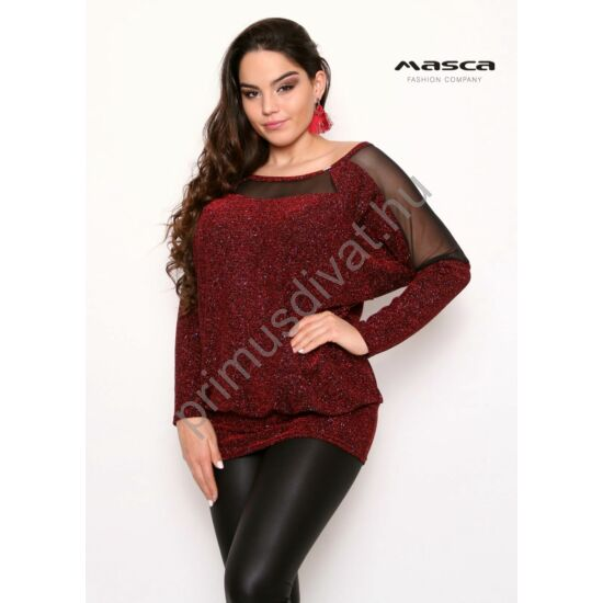 Masca Fashion fekete muszlin betétes denevérujjú, csillogó bordó lurex szálas lezser alkalmi felső, tunika, csípőjén széles passzéval