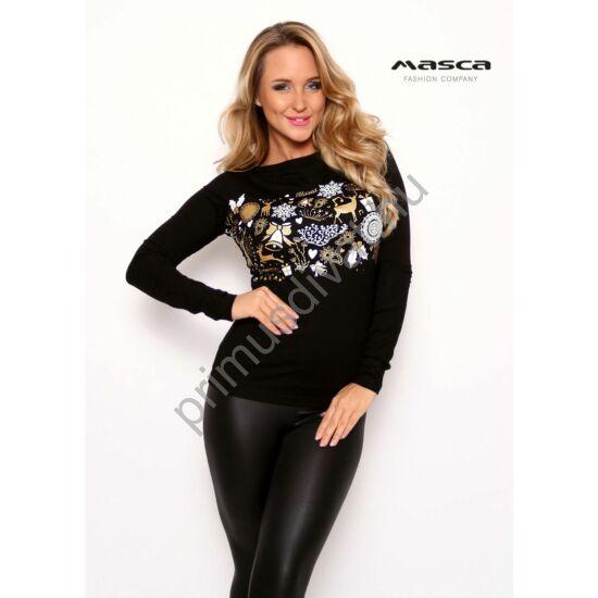 Masca Fashion csónaknyakú, hosszú ujjú fekete szűk felső, elején nyomott karácsonyi mintával