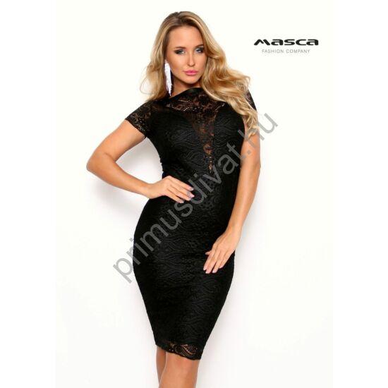 Masca Fashion csónaknyakú, részben alábélelt rövid ujjú fekete alkalmi csipkeruha, rugalmas anyagból