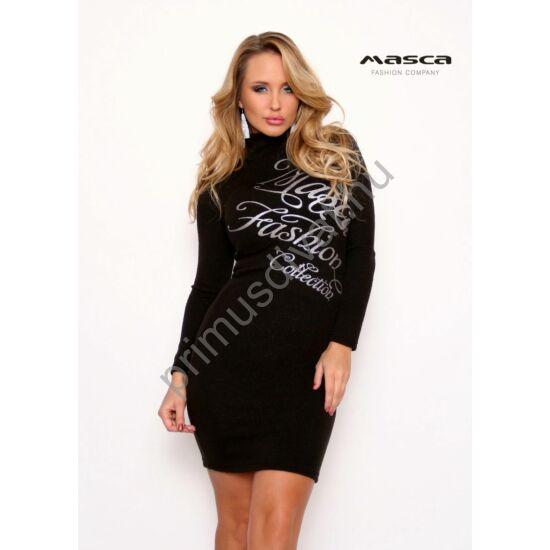 Masca Fashion garbós nyakú, csillámos felületű vékony kötött fekete alkalmi miniruha, nyomott ezüst márkafelirattal