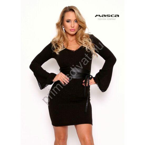 Masca Fashion csipkeszegélyes V-nyakú, csillámos felületű vékony kötött fekete alkalmi miniruha, megkötős műbőr övvel