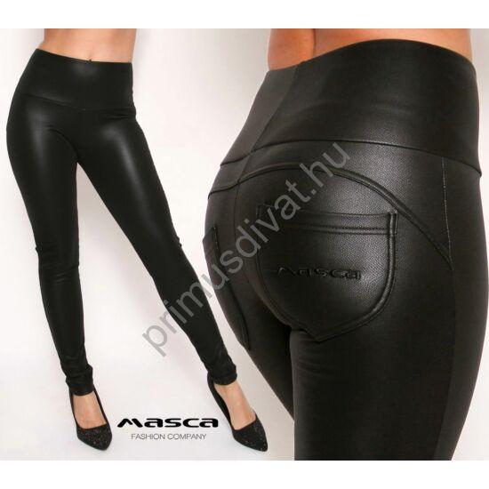 Masca Fashion magas derekú fekete bőrhatású, belül bolyhos cicanadrág, leggings, hátul íves szabással, zsebekkel