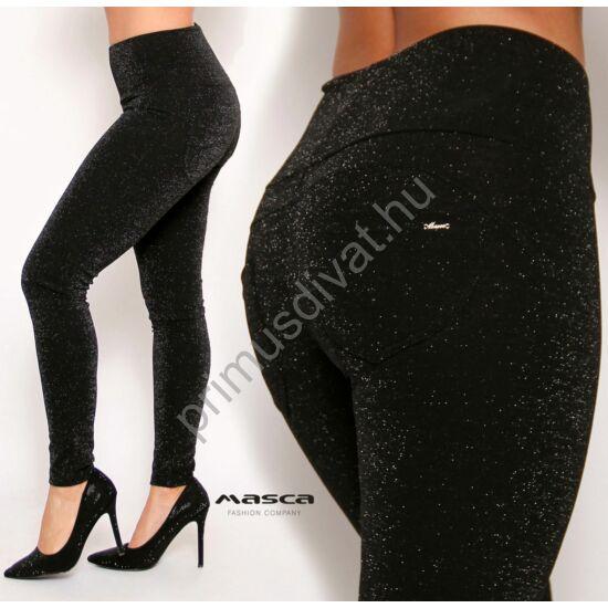 Masca Fashion magasított derekú ezüst lurex szálas csillogó fekete leggings, cicanadrág, hátán zsebekkel