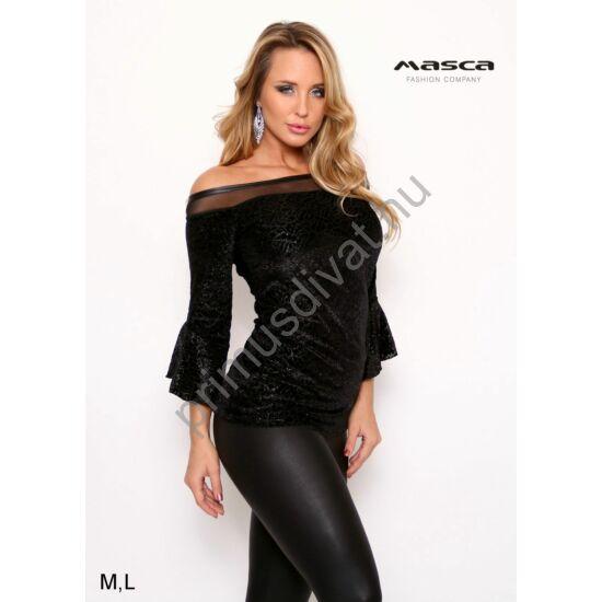 Masca Fashion fodros háromnegyedes ujjú, muszlin betétes vállra húzós nyakú, csillámos felületű mintás fekete bársony alkalmi felső