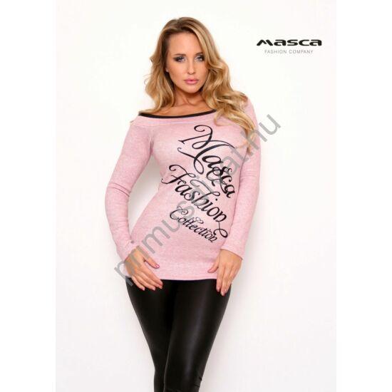 Masca Fashion fekete műbőr szegélyes csónaknyakú, ezüst lurex szálas rózsaszín hosszú ujjú vékony kötött felső, pulóver, elején nyomott márkafelirattal