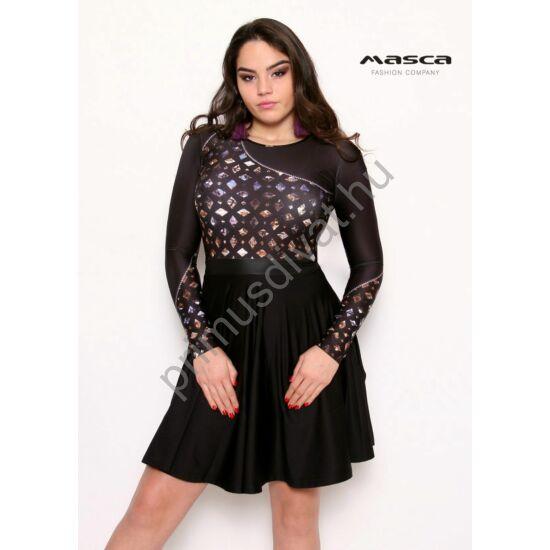 Masca Fashion cipzáras ékkőmintás hosszú ujjú loknis aljú fekete alkalmi miniruha