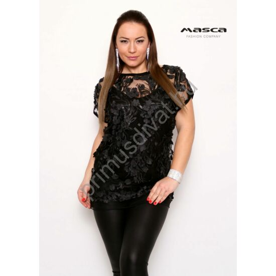 Masca Fashion fekete spagettipántos top, levélmintás tüll rövid ujjú felső réteggel