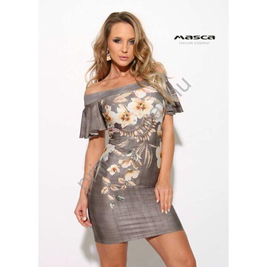 Masca Fashion vállra húzós lepke ujjú szürkés szűk miniruha, drappos virágmintával