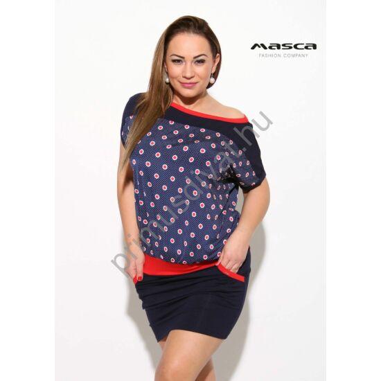 25d1c81b41 Masca Fashion piros-fehér pöttyös betétes csónaknyakú, sötétkék rövid ujjú  lezser zsebes tunika,. Kép 1/1 ...