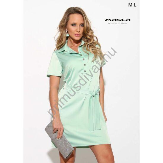 Masca Fashion galléros, patentos dekoltázsú rövid ujjú menta-zöld szatén ingruha, anyagából készült megkötős övvel