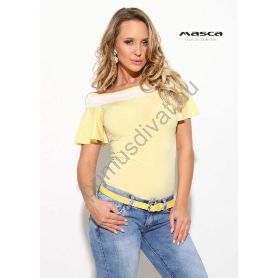 Masca Fashion vállra húzós rövid lepke ujjú sárga felső, nyakán fehér csipkerátéttel