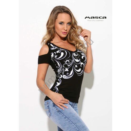 05302c8d22 Masca Fashion nyitott vállú, V-nyakú fekete felső, elején nyomott fehér  indamintával