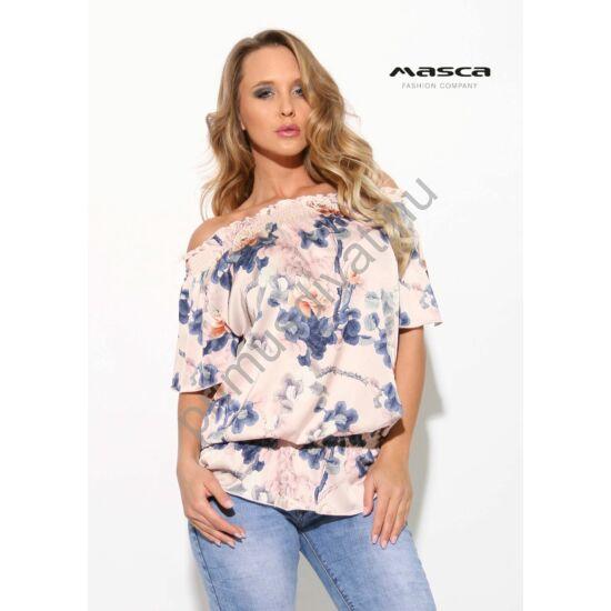 266c9b8b3f Masca Fashion vállra húzható gumírozott nyakú és derekú, virágmintás lezser  rövid ujjú felső