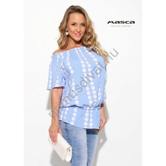 Masca Fashion vállra húzható gumírozott nyakú és derekú fehér pöttyös világoskék lezser rövid ujjú felső