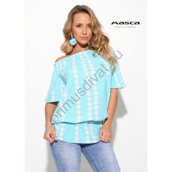 Masca Fashion vállra húzható gumírozott nyakú és derekú fehér pöttyös türkizkék lezser rövid ujjú felső