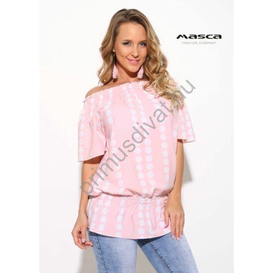 Masca Fashion vállra húzható gumírozott nyakú és derekú fehér pöttyös rózsaszín lezser rövid ujjú felső