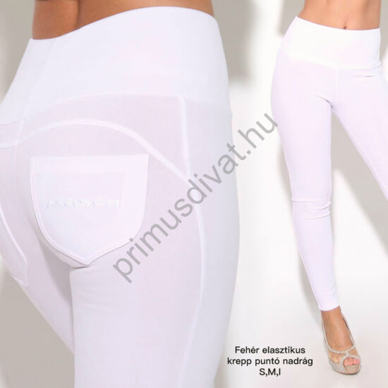 Masca Fashion magasított derekú rugalmas fehér kreppes hatású punto leggings, cicanadrág, hímzett zsebbel